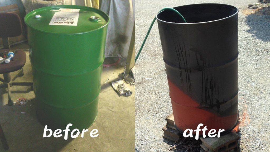 ドラム缶の塗装 Before & After